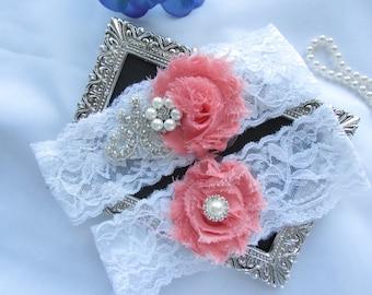 CORAL/  White or Ivory  Lace Garter Wedding Garter Set/ Bridal Garter Set.