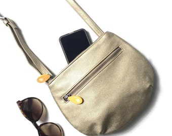 mini crossbody, unique gifts for her, small cross body bag, circle bag, gold leather bag, small shoulder bag, vegan handbags, cruelty free