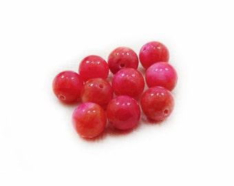 Fuchsia Jade Beads, Jade Beads, 12mm Jade Beads, Fuchsia Beads, Round Beads, 10 pcs Jade Beads, Jewelry Making, DIY Craft Supplies