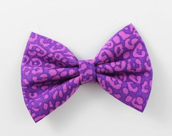 New! Purple Leopard Print bow