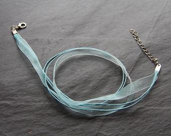 Organza necklace / Blue Nylon