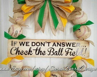 Baseball Wreath with Green and Yellow striped ribbon and burlap bow - Made with REAL balls!!! Softball and Baseball decor - Coach's Gifts