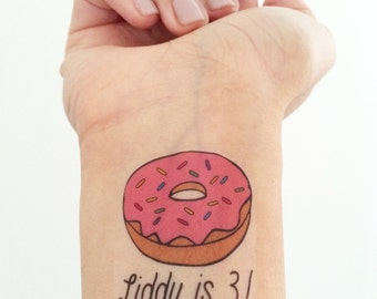 Custom Donut Temporary Tattoos
