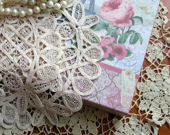 Bulk Vintage Doilies, Bulk Set of Three Doilies, Tapework Doilies, Crochet Doily, Shabby French, Centerpiece, by mailordervintage