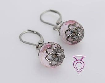 Pink Rose Art Foil Handcrafted Glass Earrings