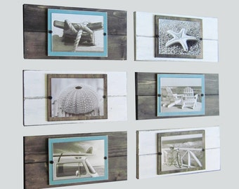 Set of 6 White and Driftwood Plank Frames for 5x7 Pictures