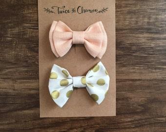 Girl Hair Bows/ Poka Dot Hair Bows/ Baby Bows/ Toddler Bows/ Gold Poka Dot Hair Bow/ Peach Hair Bow/ Light Peach Hair Bows/ 2 Pack