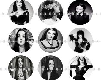 Mistress of the Dark Magnets, Dark Mistress Pins, Creep Wives, Classic Horror Wives, Dark Mistresses