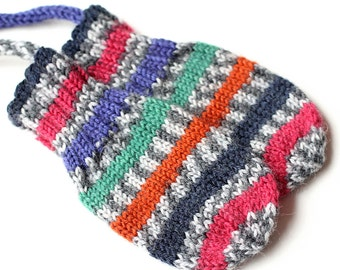 Multicolor Stripe Thumbless Baby Mittens. Corded Baby Mitts No Thumbs. Infant Hand Warmers. Striped Winter Mittens With or Without String