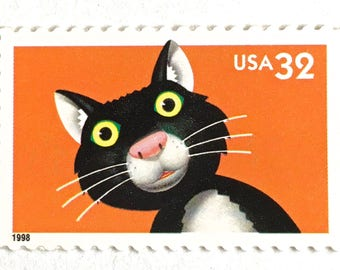 5 Unused Black Cat Stamps // Vintage Halloween Black Cat Postage Stamps for Mailing