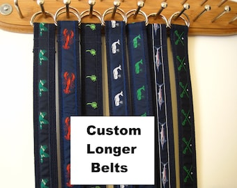 Big and Tall Canvas Belts / Large Mens Belts / Big Man D-Ring Belts / Large Belts - Pick your ribbon and webbing XL to XXXXXL