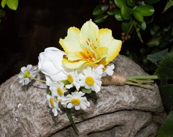 Artificial Yellow Alstromeria, Rosebud and Daisies Pin on  Buttonhole/Boutonniere, Wedding Buttonhole.Corsage