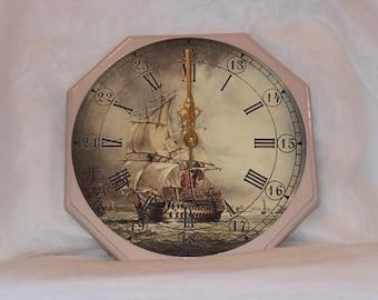 Sailing Ship Wall Clock - Decoupage wall clock - Wooden wall clock