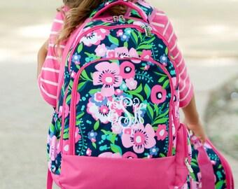 Monogrammed Backpack Monogram Kids School Elementary Posie Floral