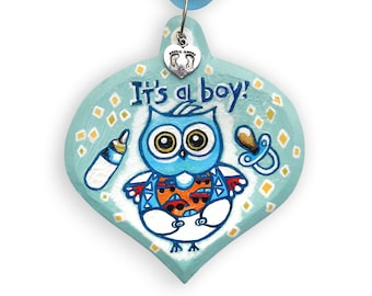 Baby Owl Ornament, It's a Boy Ornament, Wood Owl Ornament with Silver-Plated Baby Feet Charm