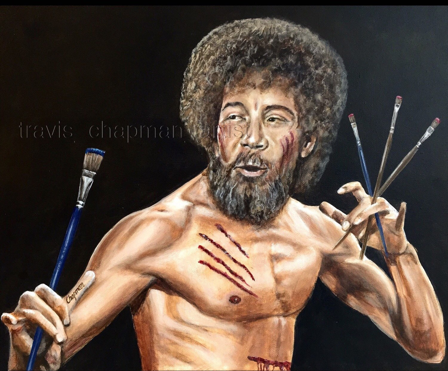 Bob ross the canvas assassin 16x20 this is a print zoom voltagebd Gallery
