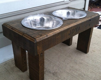 """Recycled pallet dog stand pet feeding station with 2 brand new stainless steel bowls driftwood finish  21"""" L X 11"""" W X 11""""t"""