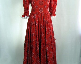 Vintage Dress ~ Red Bandana ~ Country ~ Western ~ Maxi ~ Rockabilly ~ Costume ~ Boho