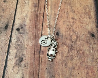 Retro microphone initial necklace - microphone jewelry, gift for musician, gift for singer, musician necklace, silver microphone necklace