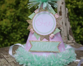 Mint Pink Gold Party Hat - Mint Pink Gold Birthday - Girl First Birthday Party Decorations - Mint Birthday - First Birthday Outfit