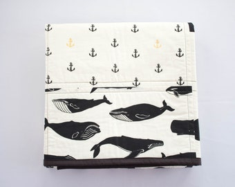 Patchwork Baby Quilt, Handmade Black and White Baby Quilt for Nautical Nursery Decor with Whales, Anchors, Dots & Sea Birds, Organic Cotton