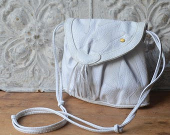 1980's White Leather Patchwork Crossbody Handbag