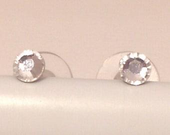 Niobium Post Earrings - Clear Crystals (2, 4, or 5mm) (Hypoallergenic Earrings for Sensitive Ears // Nickel Free Stud Earrings)