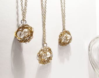 Yellow Gold Pearl Bird's Nest Necklaces