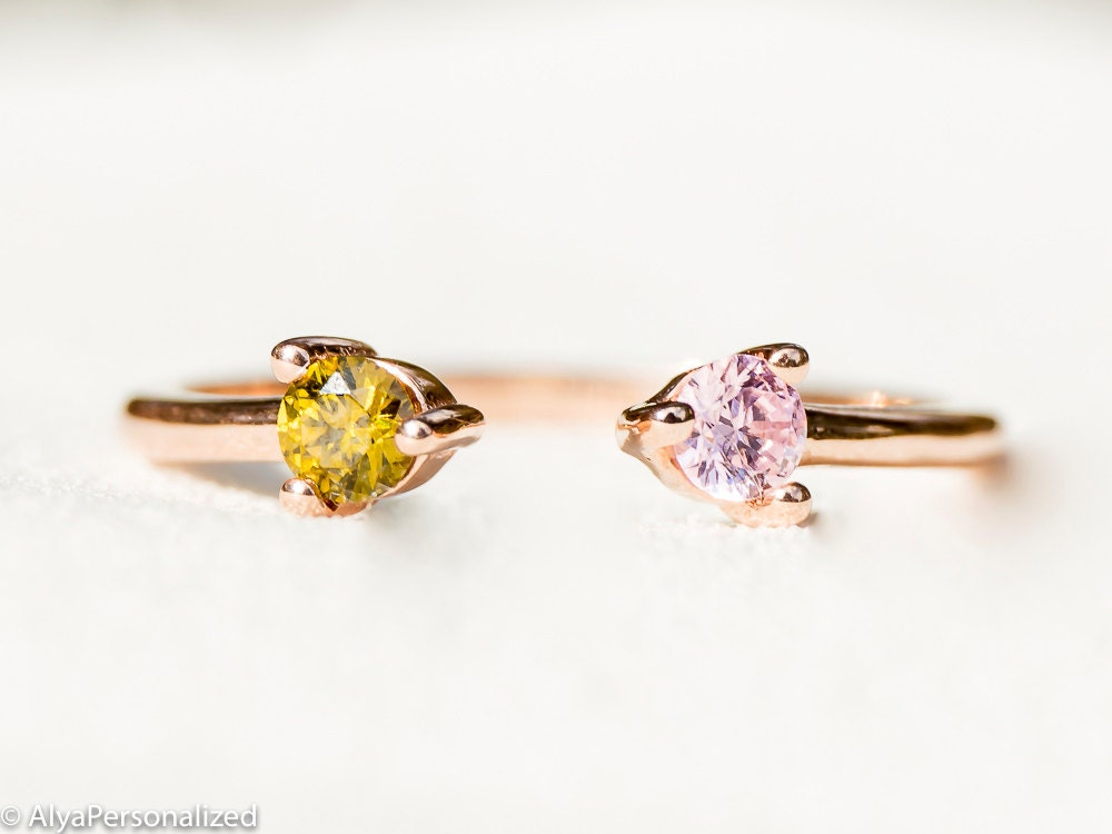 Dual Birthstone Ring Rose Gold Ring Couples Ring