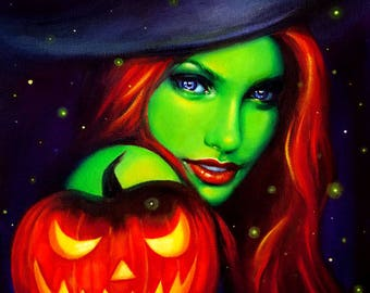 Halloween witch art, 11x14 print, green witch artwork, wicked witch, Halloween art print, witchcraft art, witch Halloween art, fantasy art