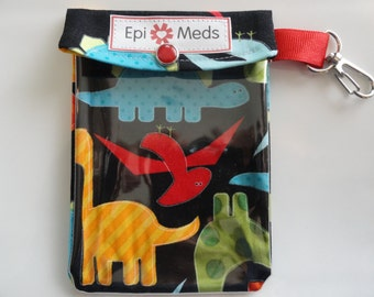 Epi or Inhaler Meds Pouch Clear Front W/ Clip Holds 1 - 2 Auvi Q Style Allergy Injectors or 1 Puffer 4x5 Dino Fabric with Unsulation Option