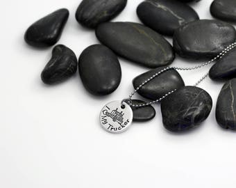 I Love My Trucker Hand Stamped   Custom   Necklace