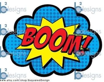 Superhero Party Signs • Boom, Pow, Zap, Bam, Pop • 8.5 x 11 • PC color • INSTANT DOWNLOAD