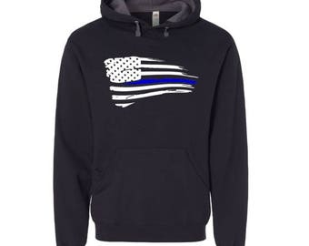 Thin Blue Line flag Hoodie, Plus Size Available, Police Law Enforcement Hoodie, Pull Over Hoodie, Thin Blue Line, Police Gift, Cop Gift