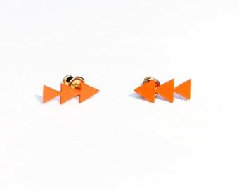Vintage Orange Enamel Crawling Arrow Studs