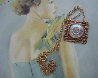 Necklace With Aqua Glass Dragonfly Vintage Brass Acorns And Oak Leaves