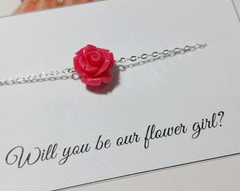 Flower Bracelet - Flower Girl & Jr. Bridesmaid Gift,  Wedding Gift Jewelry - Coral Flower Beads, Sterling Silver - 20 Colors