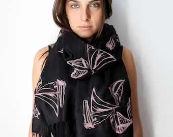 Silk Blend Sailboat Hand-Printed Scarf Pink/Black