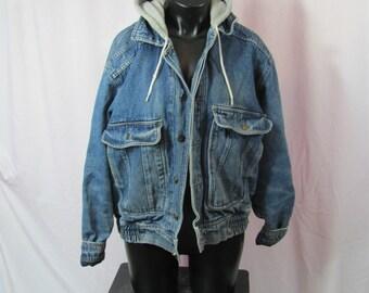 Awesome Vintage 90s Heavy Insulated Warm DENIM Jean Jacket Hooded Denim Coat Jacket Big Pockets