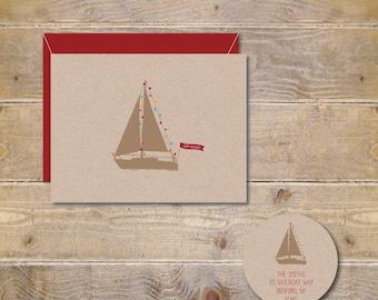 Rustic Christmas Cards, Christmas Cards, Holiday Cards, Boats, Christmas Lights, Sailboats, Holiday Gifts