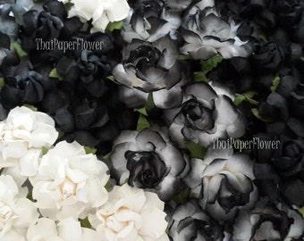 20 Black White Mulberry Paper Flowers Scrapbook Craft Wedding Supply Card Making (505/R21)