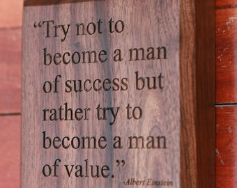 Albert Einstein Quote on Success Engraved on Wood Plaque