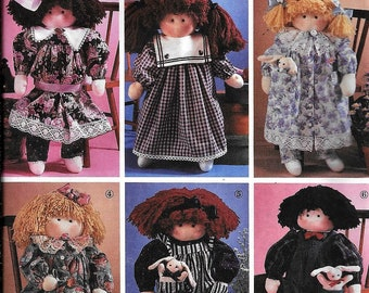 Simplicity 7650 Abbie's Soft Cloth Rag Doll And Clothes Sewing Pattern UNCUT