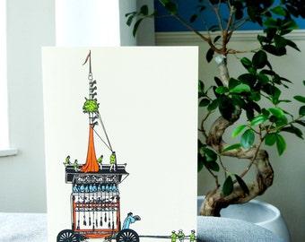 Card Matsuri float / Illustration / Japanese cardcollection / Kyoto Japan / Traditional festival parade / Blank A6 card