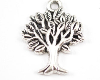 10pcs - Silver Plated Tree of Life Charm - Family Tree Charm - Tree Pendant - Silver Tree Pendant - Pendant - Jewelry Supplies B16