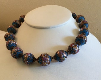 Vintage 1940 Murano Venetian Wedding Cake Glass Bead Necklace