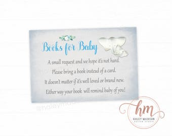 Elephant Baby Shower Book Cards, Books for Baby, Bring a Book, Book Request, Blue and Gray Elephant Baby Shower PRINTABLE FILE HM612