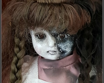 Little Lost Lucy - haunted looking sad victorian style porcelain doll ooak macabre gift or curio