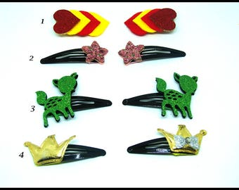 2 hair clip barrette, in felt, with different multicolored decorations at choose