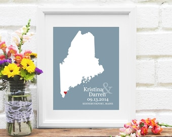 Wedding Gift, Maine State Map , Personalized Maine Map Art, Wedding, Enagagement or Anniversary Present - Art Print